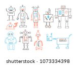 collection of hand drawn cute... | Shutterstock .eps vector #1073334398