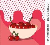 cherries in bowl harvest fruit... | Shutterstock .eps vector #1073343620