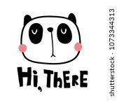 vector illustration  cute panda ... | Shutterstock .eps vector #1073344313
