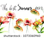 decorative summer flowers with... | Shutterstock . vector #1073360960