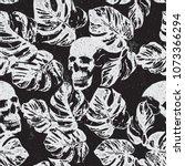 skull and leaves print pattern... | Shutterstock .eps vector #1073366294