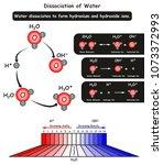 dissociation of water molecule... | Shutterstock .eps vector #1073372993