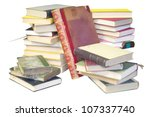 stack of books isolated on white background, blank spines, free copy space - stock photo