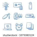 holtel room icon set  with... | Shutterstock .eps vector #1073383124