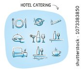 hotel restaurant icon set  with ... | Shutterstock .eps vector #1073383850