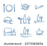 hotel restaurant icon set  with ... | Shutterstock .eps vector #1073383856