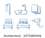 hotel room type icon set  for... | Shutterstock .eps vector #1073385446