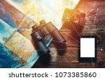vintage film camera  map ...   Shutterstock . vector #1073385860