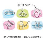 hotel spa icon set  with sauna  ... | Shutterstock .eps vector #1073385953