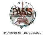 eiffel tower. paris  france... | Shutterstock .eps vector #1073386013