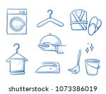 hotel room service icon set ... | Shutterstock .eps vector #1073386019
