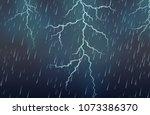 lightning strike and rain... | Shutterstock .eps vector #1073386370