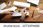 paris  france   apr 12 2018 ...   Shutterstock . vector #1073394680