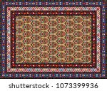 colorful oriental mosaic rug... | Shutterstock .eps vector #1073399936
