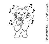 cats singing. doodle vector... | Shutterstock .eps vector #1073402126