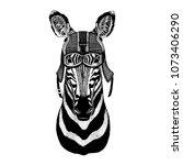 zebra  horse hipster animal... | Shutterstock .eps vector #1073406290