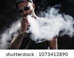 pensive black bearded male...   Shutterstock . vector #1073412890