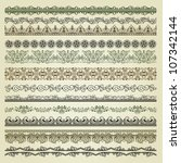 set of vintage borders   Shutterstock . vector #107342144