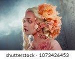 young beautiful blonde girl elf.... | Shutterstock . vector #1073426453