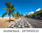 famous ipanema sidewalk in rio...   Shutterstock . vector #1073433113