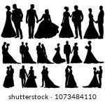 silhouette of wedding bride and ... | Shutterstock .eps vector #1073484110