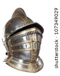 iron helmet of the medieval...