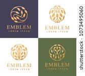 floral logo set. floral icos.... | Shutterstock .eps vector #1073495060