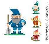 fairy tale fantastic gnome... | Shutterstock .eps vector #1073495720