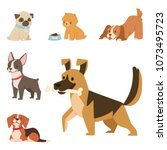 puppy cute playing dogs... | Shutterstock .eps vector #1073495723