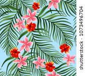 seamless hand drawn exotic...   Shutterstock .eps vector #1073496704