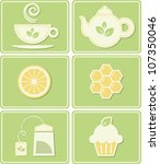 tea related vector icons set | Shutterstock .eps vector #107350046