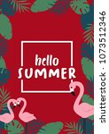 hello summer banner with... | Shutterstock .eps vector #1073512346