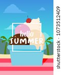 hello summer banner with ice... | Shutterstock .eps vector #1073512409