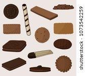 sweet cookie biscuit waffle... | Shutterstock .eps vector #1073542259