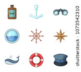 sea voyage icons set. cartoon... | Shutterstock .eps vector #1073542310