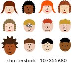 face icon set   group of face... | Shutterstock . vector #107355680