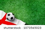 soccer ball with england flag... | Shutterstock . vector #1073565023