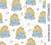 seamless pattern with hand... | Shutterstock .eps vector #1073568653