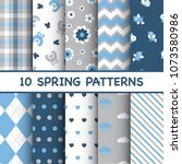 set of colorful spring patterns   Shutterstock .eps vector #1073580986