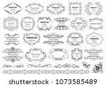 calligraphic design elements .... | Shutterstock .eps vector #1073585489