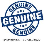 genuine blue round grunge stamp | Shutterstock .eps vector #1073605529