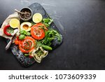 delicious salmon rolls  goats... | Shutterstock . vector #1073609339