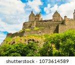 edinburgh castle on the rock... | Shutterstock . vector #1073614589