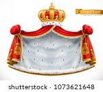 royal mantle and crown. 3d... | Shutterstock .eps vector #1073621648