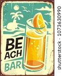 summer beach bar retro sign... | Shutterstock .eps vector #1073630990