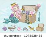 sea clipart mermaid's treasures ... | Shutterstock .eps vector #1073638493