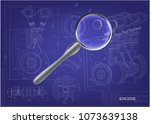 machine building drawing.... | Shutterstock .eps vector #1073639138