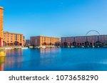 albert dock in liverpool during ... | Shutterstock . vector #1073658290