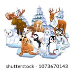 set of arctic animals like seal ... | Shutterstock .eps vector #1073670143