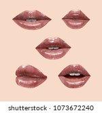 nude sensual juicy lips... | Shutterstock .eps vector #1073672240
